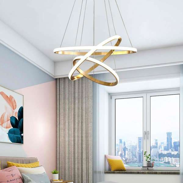 Copper,Silicone Restaurant,Study/ Bedroom,Living Room Dyeing Modern Simple Chandelier,3 Lights