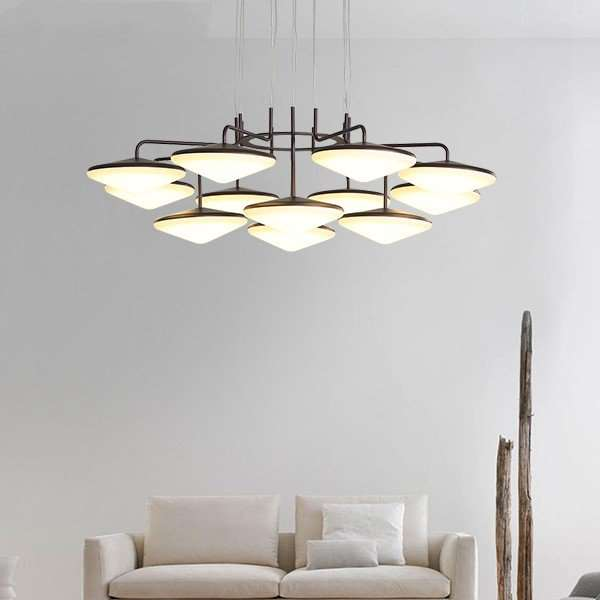 Iron Art,Zinc Alloy,Acrylic Villa/ The Hotel Lobby,Living Room Brushed Hanging Modern Minimalist Chandelier,9 Lights